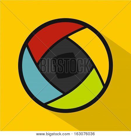 Semi-closed lens icon. Flat illustration of semi-closed lens vector icon for web
