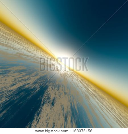 A background with sun on edge of horizon over surreal glass 3D rendering.