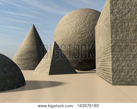 An abstract background with primitive cone pyramid sphere and cube shapes made of stone bricks 3d illustration.
