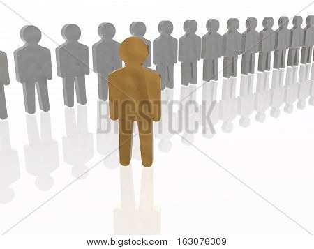Brown and grey mans on white reflective background 3D; illustration.