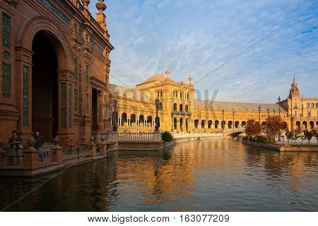Seville Spain - November 182016: View of Plaza de Espana complex built in 1929 is a huge half circle with a total area of 50000 square meters
