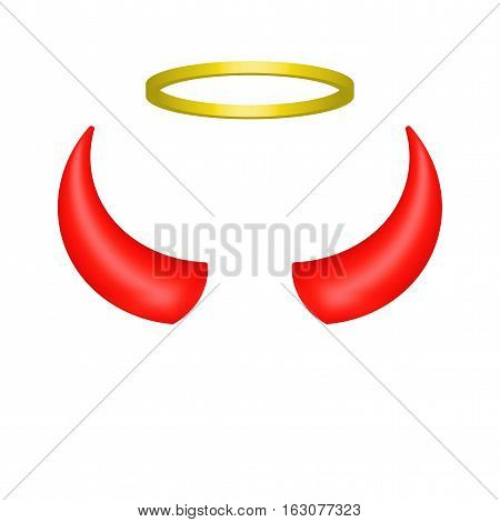 Red devil horns and angel halo. Vector illustration