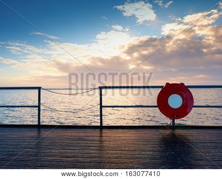 Empty Wooden Pier At Beautiful Colorful Morning. Tourist Mole In Wharf