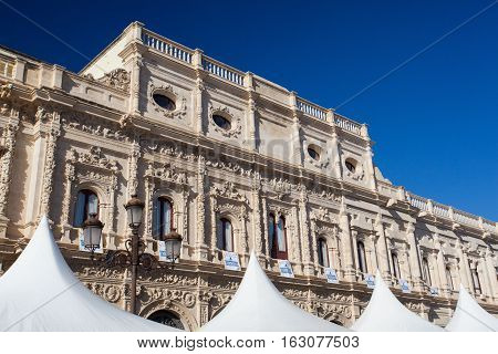 Seville Spain - November 182016: View of city hall. Casa consistorial de Sevilla is a Plateresque style building in Seville Spain currently home of the city government
