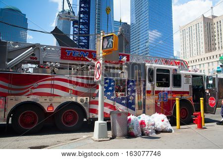 New York USA - July 29 2013:Typical american fire truck in Manhattan next the Ground Zero New York City USA