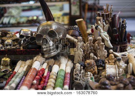 Chinese souvenirs. Skeleton in a souvenir shop