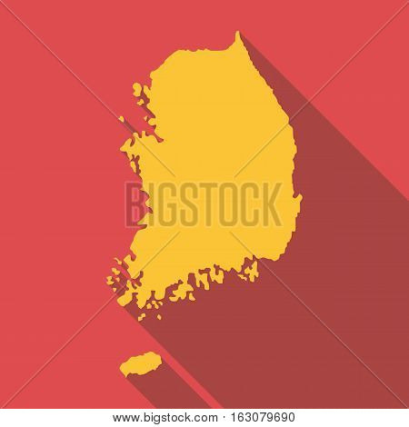 Korea map icon. Flat illustration of korea map vector icon for web