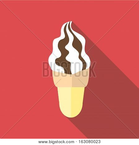 Waffle cone ice cream icon. Flat illustration of waffle cone ice cream vector icon for web