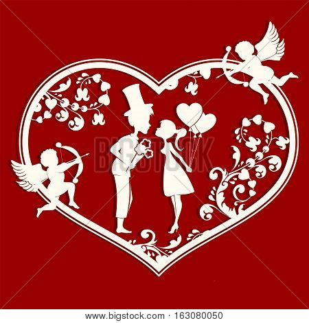 The design of the silhouette of a heart with cupids, lovers inside a guy in a hat with a bouquet of flowers and a girl