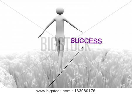 man goes over a precipice on a tightrope to success 3D illustration
