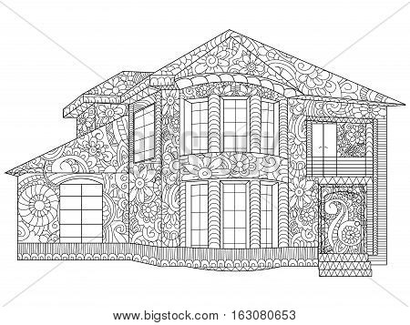 Two-storey house coloring book vector illustration. Anti-stress coloring for adult cottage. Zentangle style. Black and white lines manor. Lace pattern