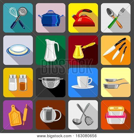 Kitchenware dishes icons set. Flat illustration of 16 kitchenware dishes vector icons for web