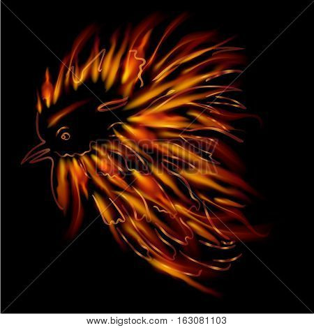 Flame lights along the contour of the rooster head. Cock sketch hand drawing. Symbol of New Year 2017. Vector. Flame lights along the contour of the rooster head.