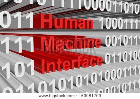human machine interface is presented in the form of binary code 3d illustration