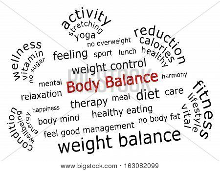 Body Balance wordcloud on white background - illustration