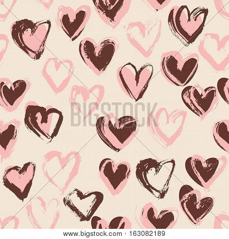 Abstract seamless heart pattern. Ink illustration. Nude romantic background.