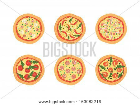 Pizzas with different toppings including Margherita, shrimp, bacon, onion, tomatoes. Top view. Vector illustration. Cartoon stylized