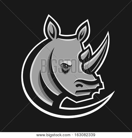 Rhino sport logo vector illustration. Logotype template for mascot team. Rhinoceros head. Flat style