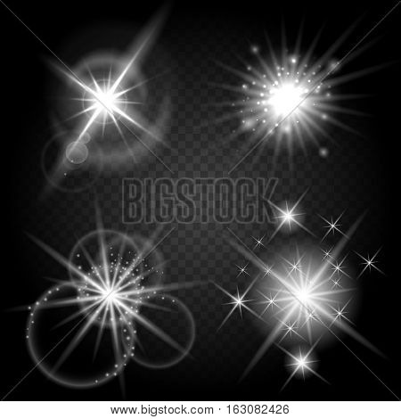 Vector isolated shiny sun set with rays. Glowing stars and stellar objects on transparent background. Sparkle star flare bright collection illustration