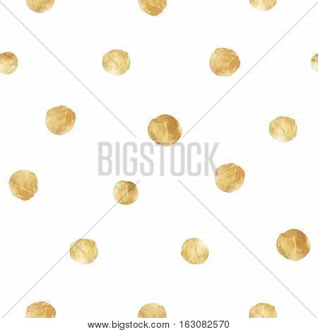 Bright festive seamless pattern with gold painted dots, illustraion