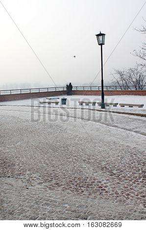 Winter park near Wawel castle in Krakow, Poland