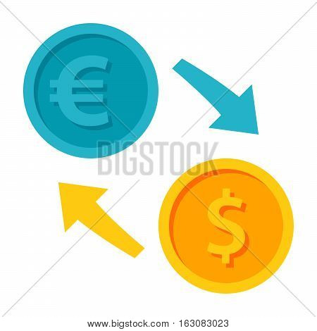 Exchange currency icon with euro and dollar coins