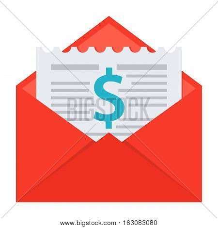 Invoice or bill in envelope vector illustration in flat style
