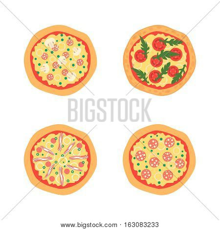 Pizzas with different toppings including Margherita, bacon, onion, tomatoes. Top view. Vector illustration. Cartoon stylized
