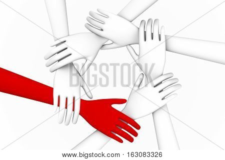 Your team A team of people standing and holding hands 3d illustration
