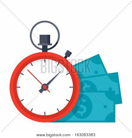 Time is money concept with stopwatch and dollar banknotes
