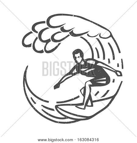 Vintage logo. Men surfing on big wave. Man on surfboard. Surf logotype. Flat