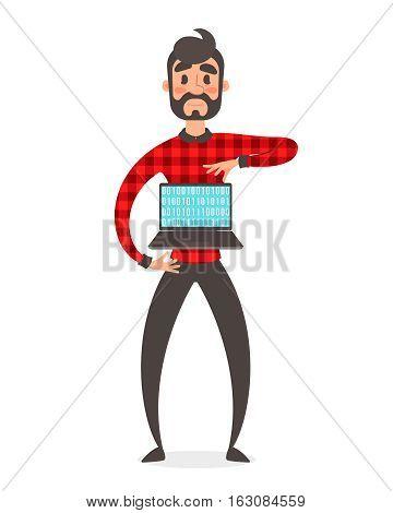 Concept of programmer superhero. Vector people illustration. Binary data code, coding on laptop. Cartoon flat style