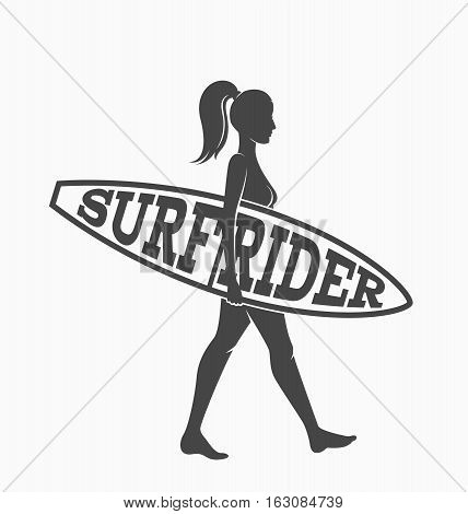 Woman goes surfing with surfboard. Surf rider logo. Vector illustration. Flat