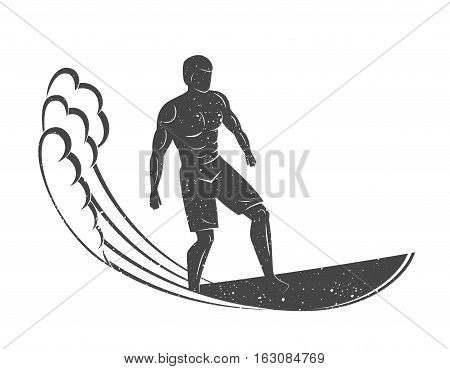 Vintage logo. Men surfing on wave. Surfboard. Surf logotype. Flat style