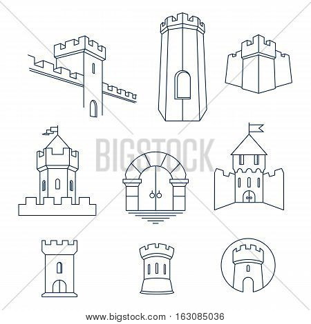Castle tower turret kingdom fortress and castle gate vector line art icon set