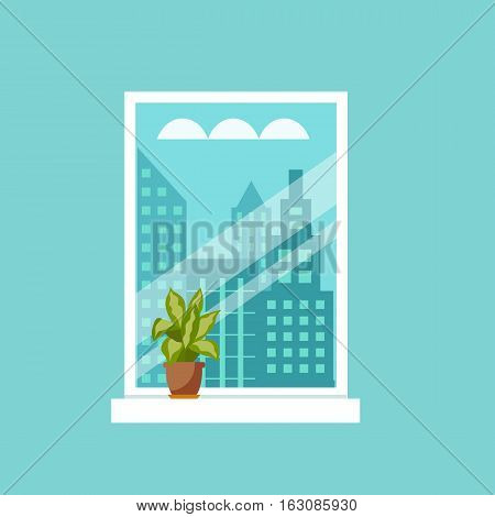 Colorful flat style illustration of window with house plants and flowers. Cartoon vector poster room interior window with indoor plants.