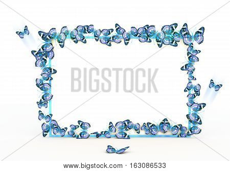 Colorful butterflies border design mockup. Template for wedding invitation and greeting card. Laser cut paper lace frame. 3D rendering.
