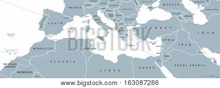 Mediterranean Basin political map. Mediterranean region, also Mediterranea. Lands around Mediterranean Sea. South Europe, North Africa and Near East. Gray illustration with English labeling. Vector.