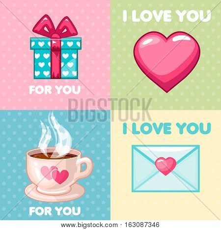Cartoon love icons collection, pack of nice valentine greeting cards