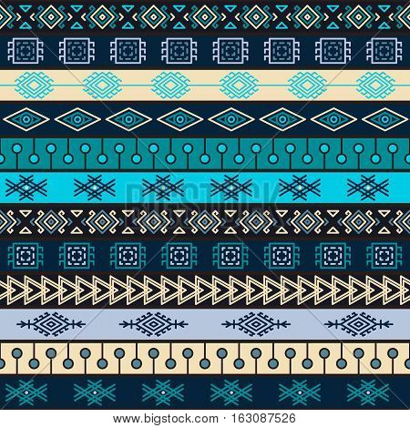 Tribal multicolor knitted seamless pattern. indian or african ethnic patchwork style. Vector image for textile decorative background wrapping paper
