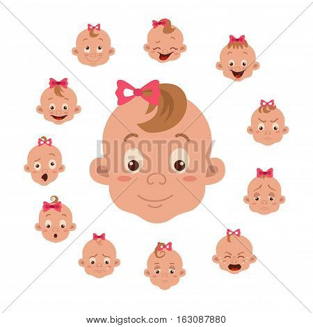 Baby facial expression isolated icons on white background. Cute color vector illustration of little girl faces showing different emotions smiling, sad, surprised, crying, shy, laugh happy in flat style.