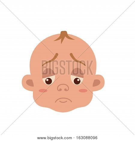 Baby facial expression isolated icons on white background. Cute color vector illustration of boy  face showing sad emotion in flat style.