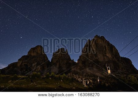 A summer evening at the Sella Pass Dolomites