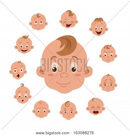 Baby facial expression isolated icons on white background. Cute color vector illustration of boy baby faces showing different emotions smiling, sad, surprised, crying, shy, laugh happy in flat style.