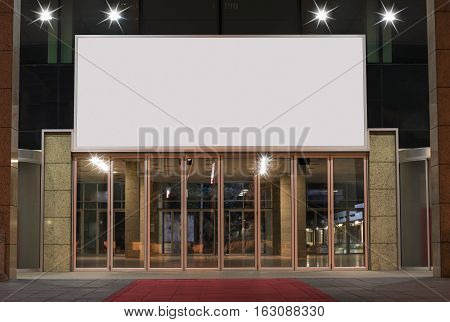 Theater cinema or business building with blank advertising columns. Mockup