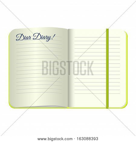 Template Open a blank notepad with the words Dear Diary. Vector personal diary with a green cover and bookmark. Isolated on white background.