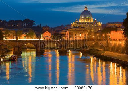 Rome And Vatican In A Summer Night