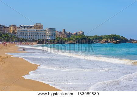 View of Biarritz in a sunny summer day