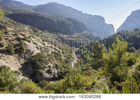 Spectacular landscape of wide areas belong to Gorge of the Gaitanes Malaga Spain