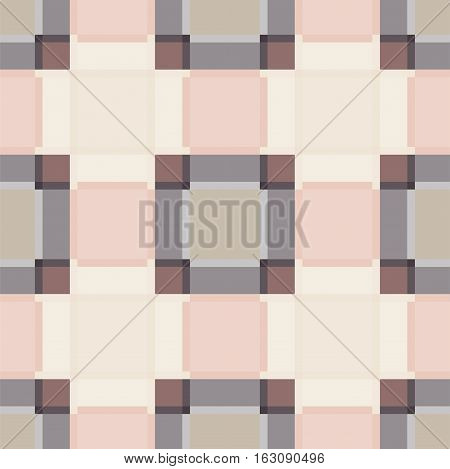 Square abstract plaid vintage seamless vector pattern. Pale peach checkered shape background.